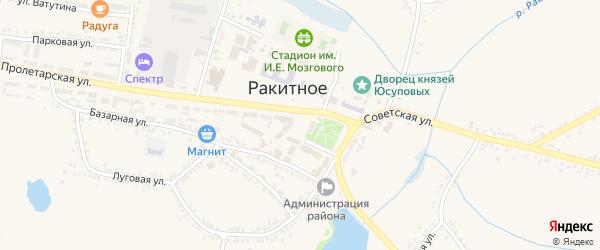 Советская площадь на карте поселка Ракитного Белгородской области с номерами домов