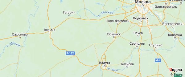 Карта Медынского района Калужской области с городами и населенными пунктами