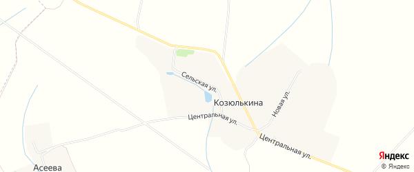 Карта деревни Козюлькиной в Орловской области с улицами и номерами домов