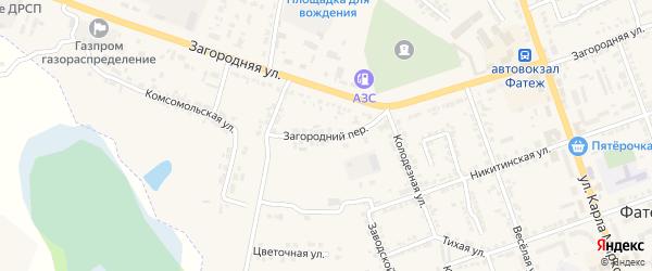 Загородний переулок на карте Фатежа с номерами домов