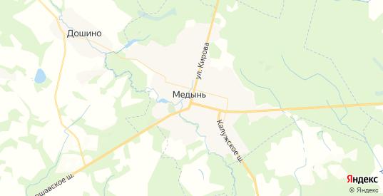 Карта Медыни с улицами и домами подробная. Показать со спутника номера домов онлайн