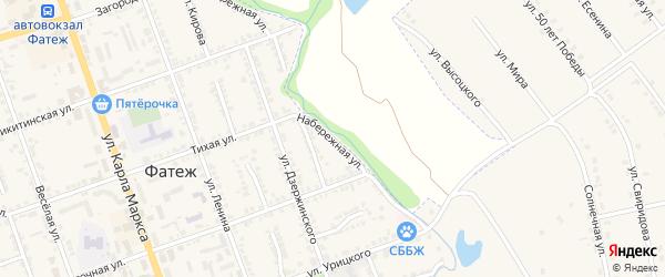 Набережная улица на карте Фатежа с номерами домов