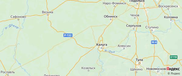 Карта Дзержинского района Калужской области с городами и населенными пунктами