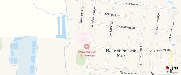 Октябрьская улица на карте поселка Васильевского Моха Тверской области с номерами домов