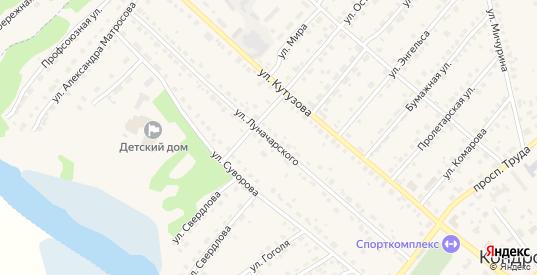 Улица Луначарского в Кондрово с номерами домов на карте. Спутник и схема онлайн