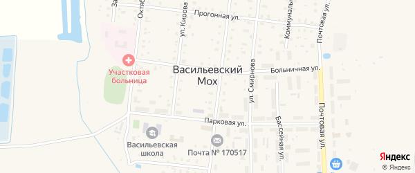 Лесная улица на карте поселка Васильевского Моха Тверской области с номерами домов