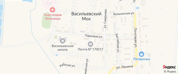 Первомайская улица на карте поселка Васильевского Моха Тверской области с номерами домов