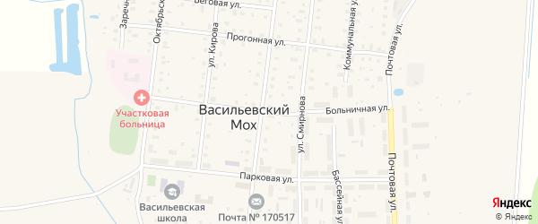 Больничная улица на карте поселка Васильевского Моха Тверской области с номерами домов