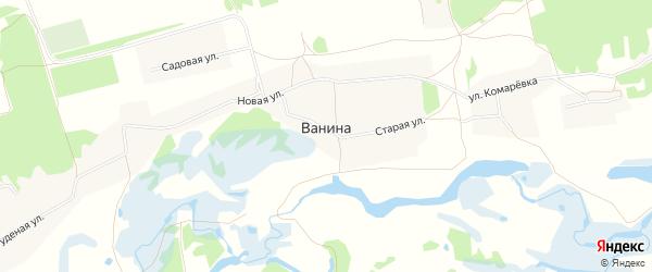 Карта деревни Ваниной в Курской области с улицами и номерами домов