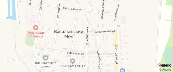 Улица Смирнова на карте поселка Васильевского Моха Тверской области с номерами домов