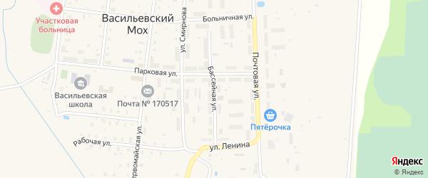 Бассейная улица на карте поселка Васильевского Моха Тверской области с номерами домов