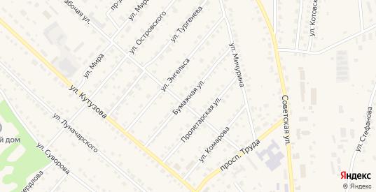 Бумажная улица в Кондрово с номерами домов на карте. Спутник и схема онлайн