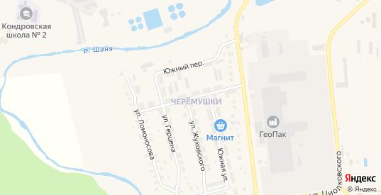 Переулок Ломоносова в Кондрово с номерами домов на карте. Спутник и схема онлайн