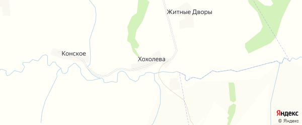 Карта деревни Хохолева в Орловской области с улицами и номерами домов