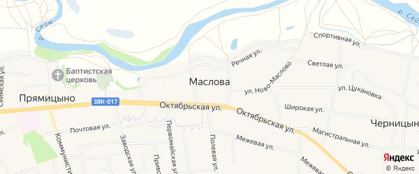 Карта деревни Маслова в Курской области с улицами и номерами домов