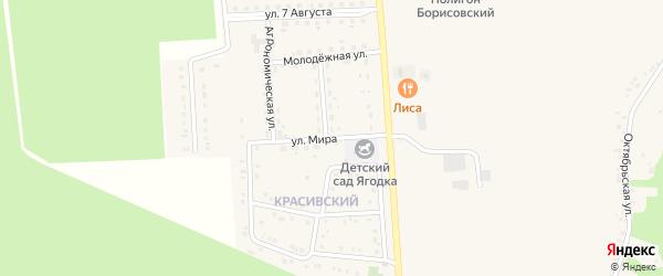 Улица Мира на карте поселка Борисовки с номерами домов