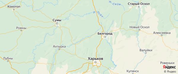 Карта Борисовского района Белгородской области с населенными пунктами и городами