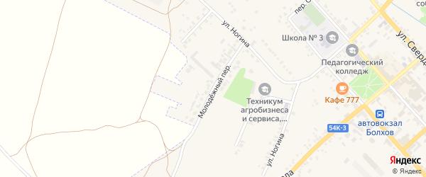Молодежный переулок на карте Болхова с номерами домов