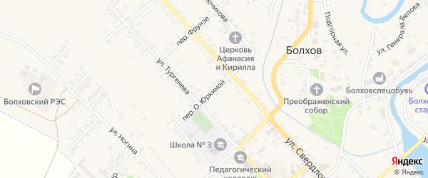 О.Юркиной переулок на карте Болхова с номерами домов