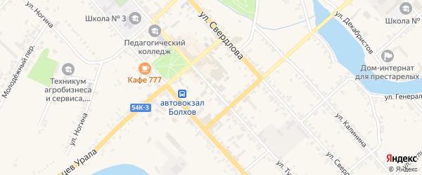 Улица Тургенева на карте Болхова с номерами домов