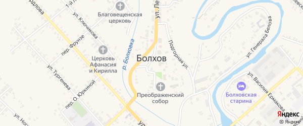 Лесная площадь на карте Болхова с номерами домов