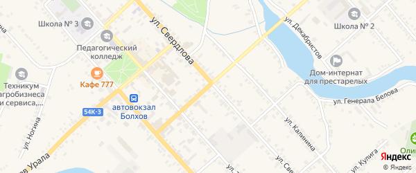 Первомайский 1-й переулок на карте Болхова с номерами домов