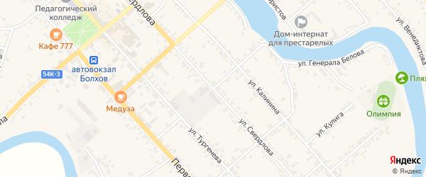 Первомайский 2-й переулок на карте Болхова с номерами домов