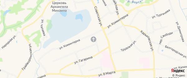 Карта поселка Борисовки в Белгородской области с улицами и номерами домов