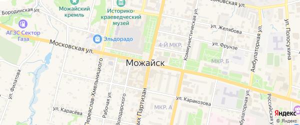 Зеленая улица на карте Можайска с номерами домов
