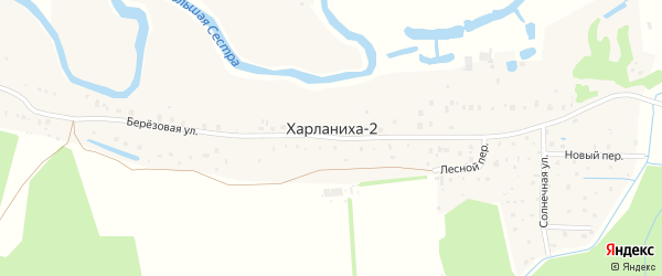 Лесной переулок на карте деревни Харланихи-2 Московской области с номерами домов