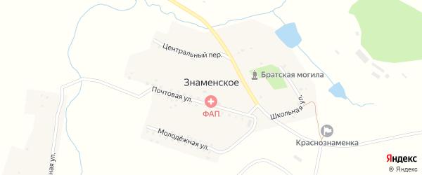 Центральный переулок на карте деревни Знаменского Орловской области с номерами домов