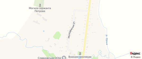Молодежная улица на карте деревни Славного Тверской области с номерами домов