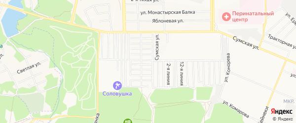 Территория ТСН Дружба на карте Курска с номерами домов
