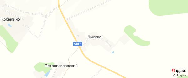 Карта деревни Лыкова в Орловской области с улицами и номерами домов