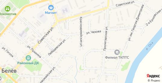 Красноармейская улица в Белеве с номерами домов на карте. Спутник и схема онлайн