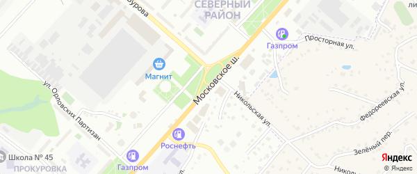 Московское шоссе на карте Орла с номерами домов