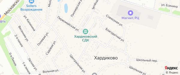 Первомайская улица на карте деревни Хардиково Орловской области с номерами домов