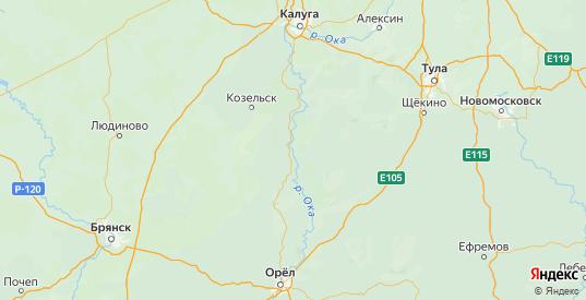 Карта Белевского района Тульской области с городами и населенными пунктами