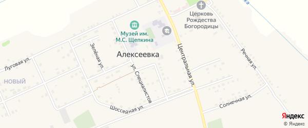 Шоссейная улица на карте села Алексеевки с номерами домов