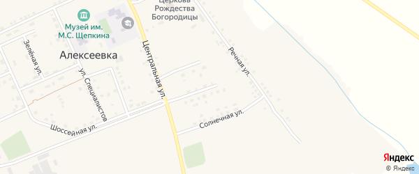 Солнечная улица на карте села Алексеевки с номерами домов