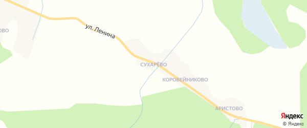 Карта деревни Сухарево в Вологодской области с улицами и номерами домов