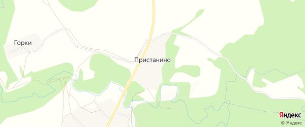 Карта деревни Пристанино в Московской области с улицами и номерами домов