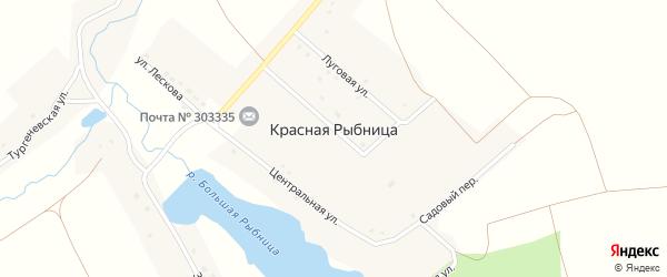 Заречная улица на карте деревни Красной Рыбницы Орловской области с номерами домов