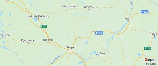 Карта Рамешковского района Тверской области с городами и населенными пунктами