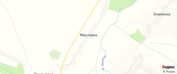 Карта деревни Масловки в Курской области с улицами и номерами домов