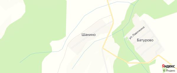 Карта деревни Шанино в Московской области с улицами и номерами домов