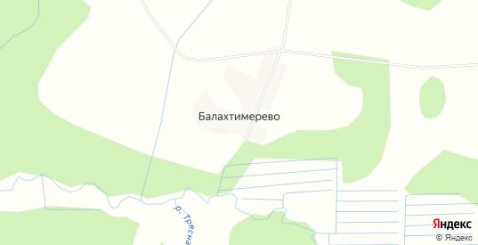 Карта деревни Балахтимерево в Вологодской области с улицами, домами и почтовыми отделениями со спутника онлайн
