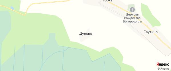 Карта деревни Дуново в Вологодской области с улицами и номерами домов