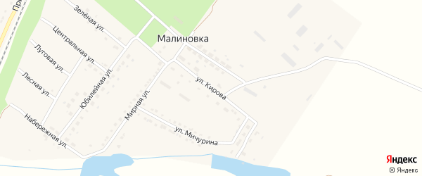 Улица Кирова на карте поселка Малиновки с номерами домов