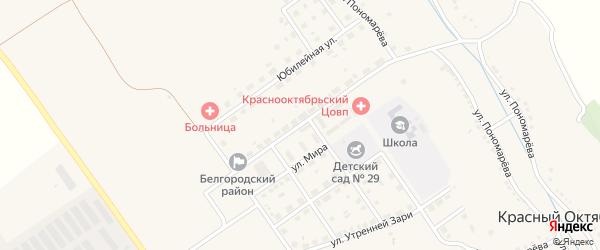 Улица Гагарина на карте села Красного Октября Белгородской области с номерами домов